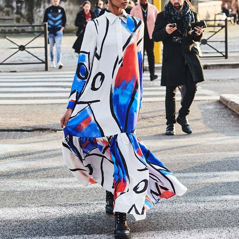 Celmia Ruffled Long Dress Fashion Women Graffiti Printed Dress Kaftan Lapel Shirt Dress Long Sleeve Maxi Dresses Autumn Vestido