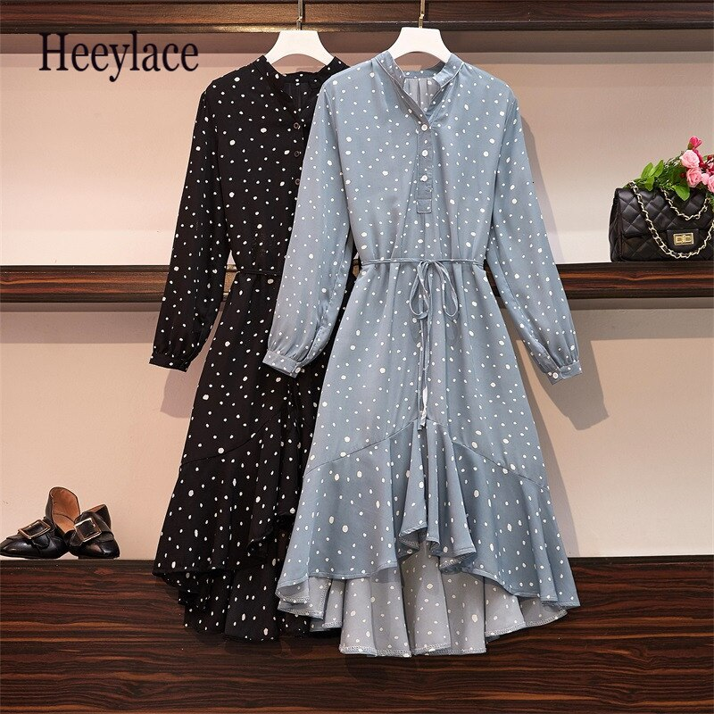 Plus Size Women Ruffle Meimaid Dress Autumn 2019 Fashion Polka Dot Print Long Sleeve Loose Casual Chiffon Shirt Dresses