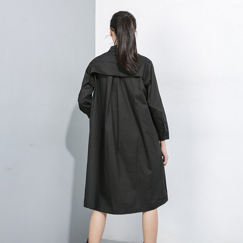 New 2019 Women Hit Color Women Shirt Dress Black White Shirt Patchwork Cartoon Printed Female Plus Size Straight Dress Robe J224 1