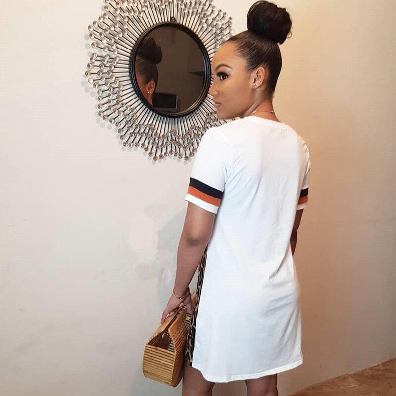 Patchwork Leopard Print Dress for Women Streetwear Short Sleeve Casual Summer Dress 2020 Beach Mini Loose T Shirt Dress Vestidos 2