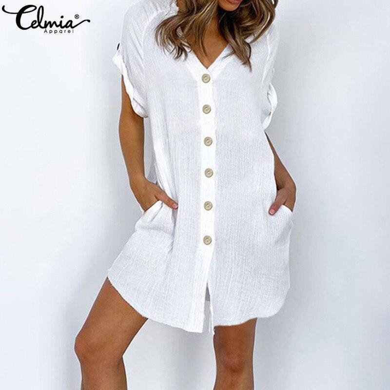 Celmia 5XL Vintage Shirt Dress Women Sexy V neck Short Sleeve Summer Sundress Casual Button Beach Robe Mini Vestidos Plus Size 1