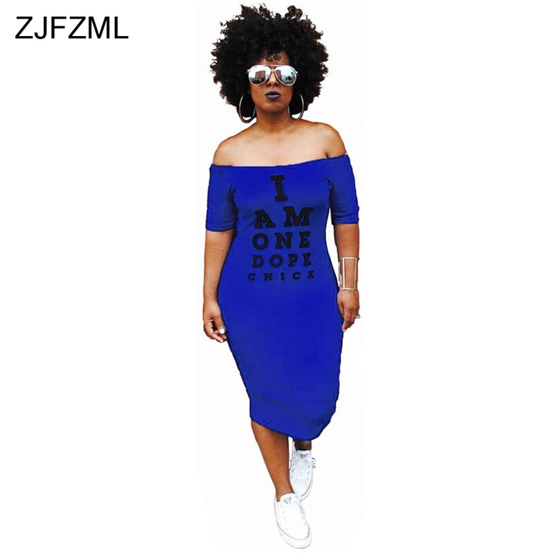 ZJFZML Off Shoulder Sexy T Shirt Dress Women Letter Print Slash Neck Bandage Dress Summer Short Sleeve Backless Mid-Calf Dress 3