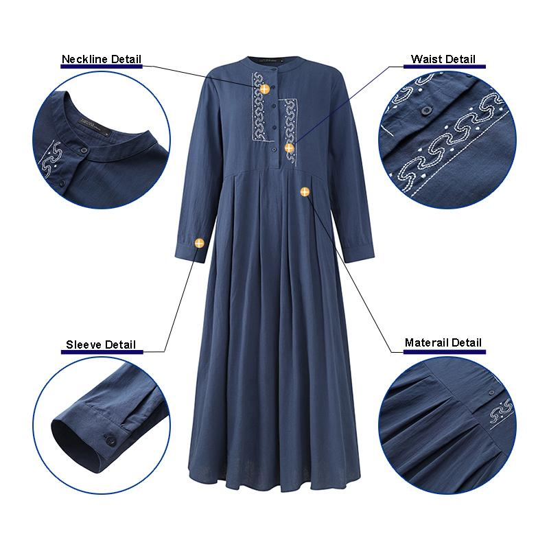 2020 ZANZEA Autumn Long Sleeve Sundress Women Casual Cotton Linen Kaftan Vintage Embroidery Work Long Shirt Dress Female Robe 3
