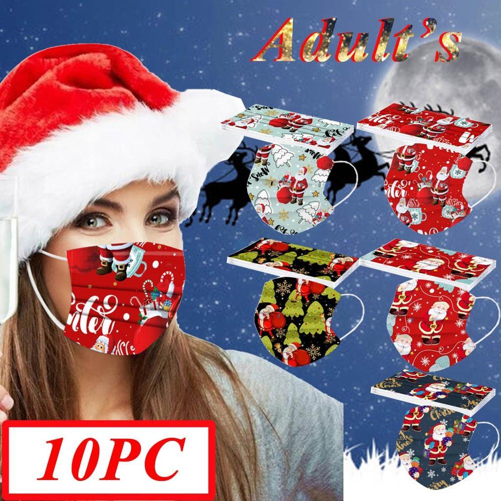 10pcs Christmas Face Mask Disposable Santa 3ply Earloops Adult Facemask mascarillas navidad tapabocas Mascherine masque Маска