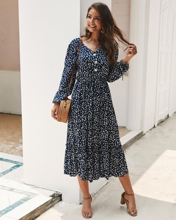ZITY Classic Floral Print Maxi Gown Girls Boho Lengthy Sleeve