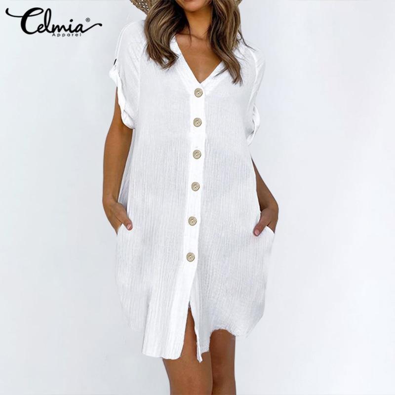 Celmia 5XL Vintage Shirt Dress Women Sexy V neck Short Sleeve Summer Sundress Casual Button Beach Robe Mini Vestidos Plus Size 2