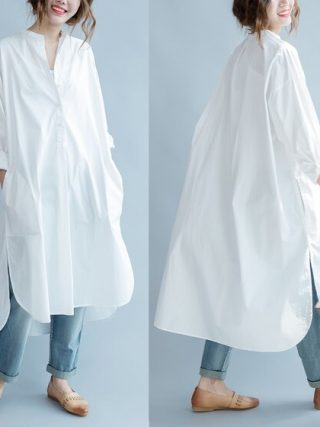 Gown Cotton Shirt Gown White Classic Spring Summer time