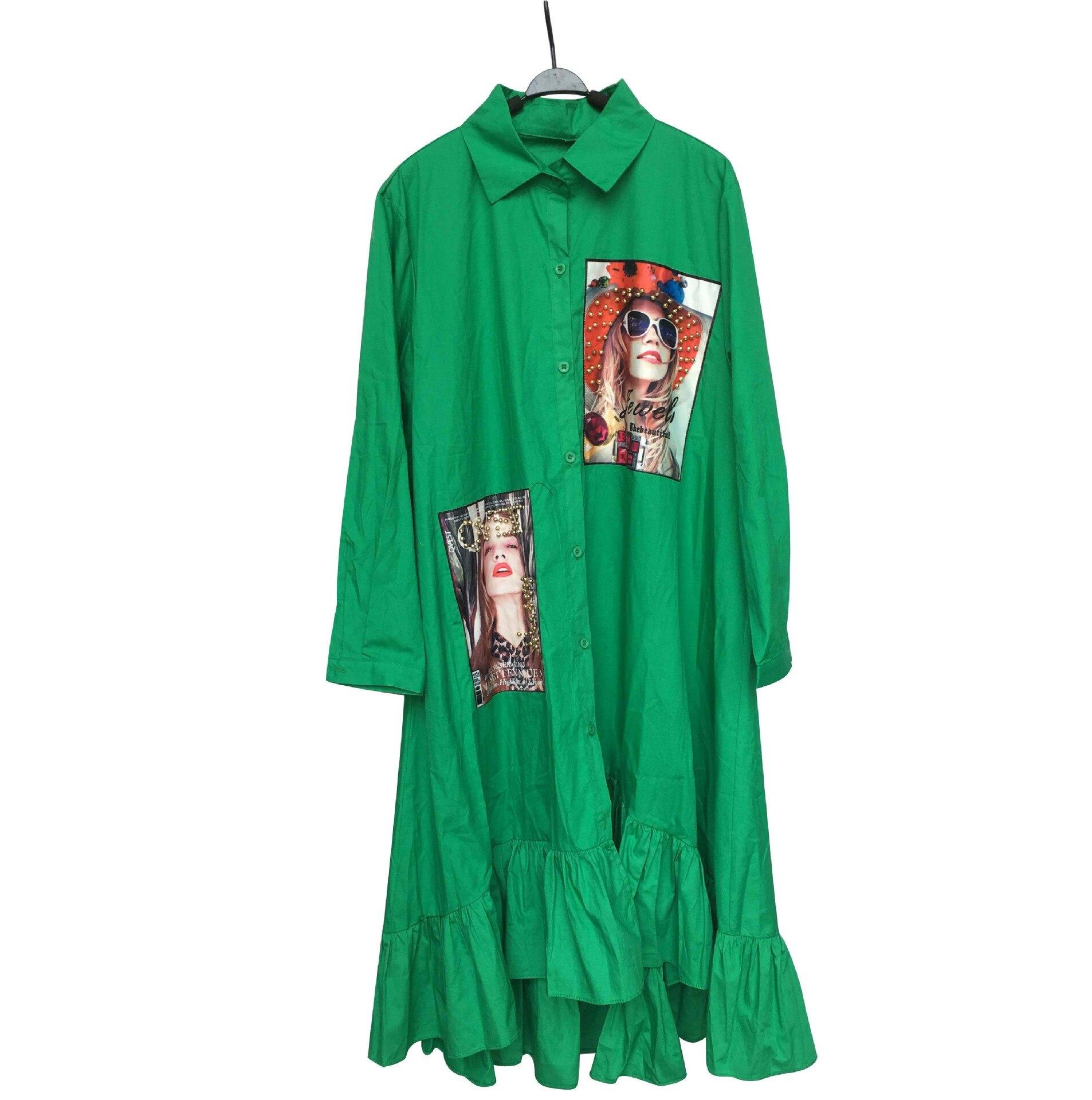 Women Spring Autumn Fashion Green Yellow Pleated Dress 2020 Casual Cute Beading Shirt Dresses Long Sleeve Plus Size Vestidos 4