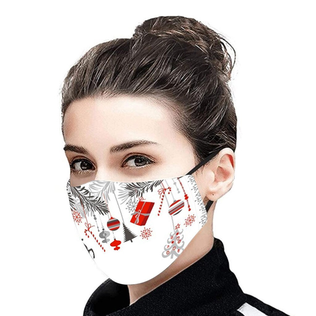 Christmas Face Mask Activated Carbon Outdoor Fabric Facial Mask Christmas Print Mouth Cap Washable Christmas Wear mascarillas 4