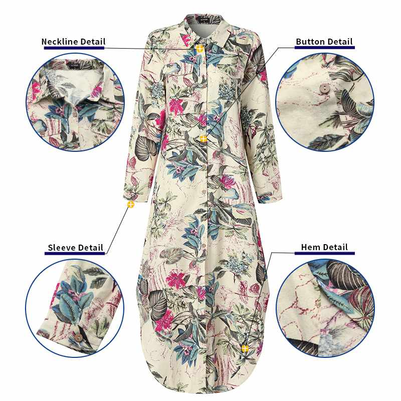 VONDA Maxi Long Dress 2020 Women Vintage Printed Long Sleeve Shirt Dresses Plus Size Bohemian Vestidos Elegant Beach Sundress 4