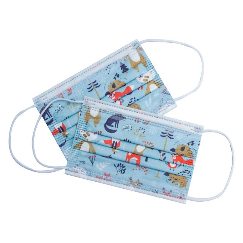 10/50/100pcs Disposable Christmas Face Mask Style Layer 3 Non-woven Fabrics Cartoon Printing Anti-dust Mouth Mask For Kids 4