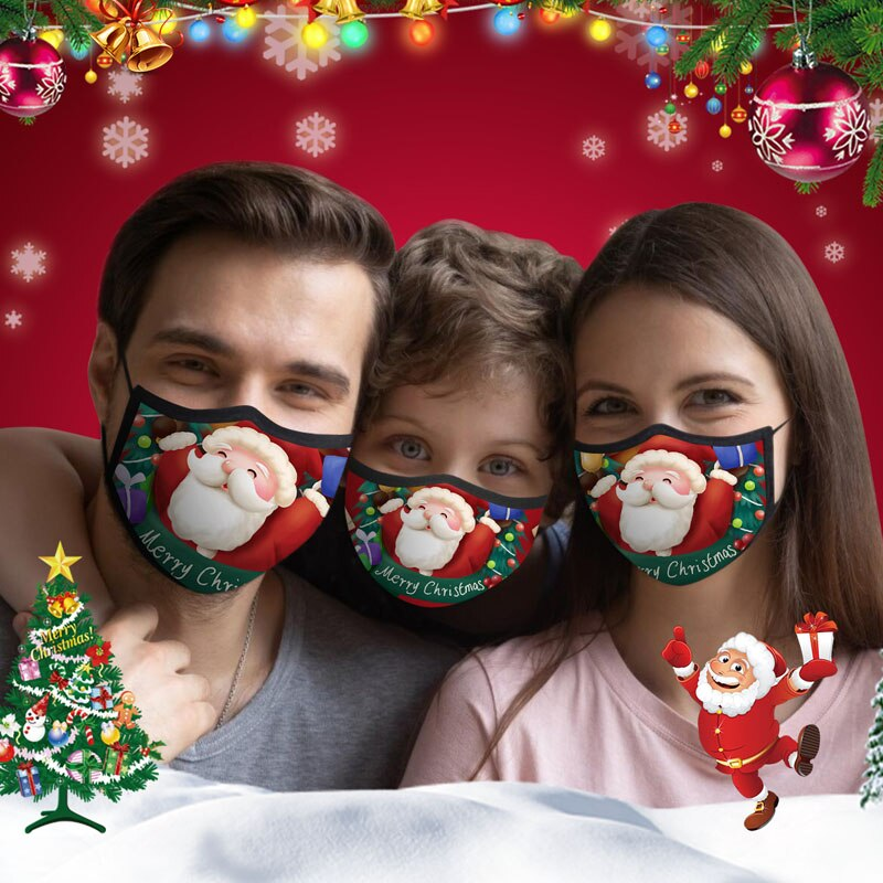 Resuable Christmas Face Mask Breathable Washable Face Shield Xmas Gift Christmas Ornaments Noel Halloween Christmas Mouth-muffle 1