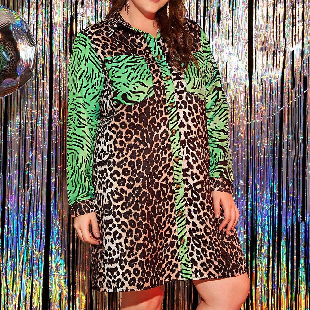 Leopard Printed Women Dress Autumn 2020 African Turn Down Collar Long Sleeve Plus Size Dress Vestiods Robe Shirt Dresses 3