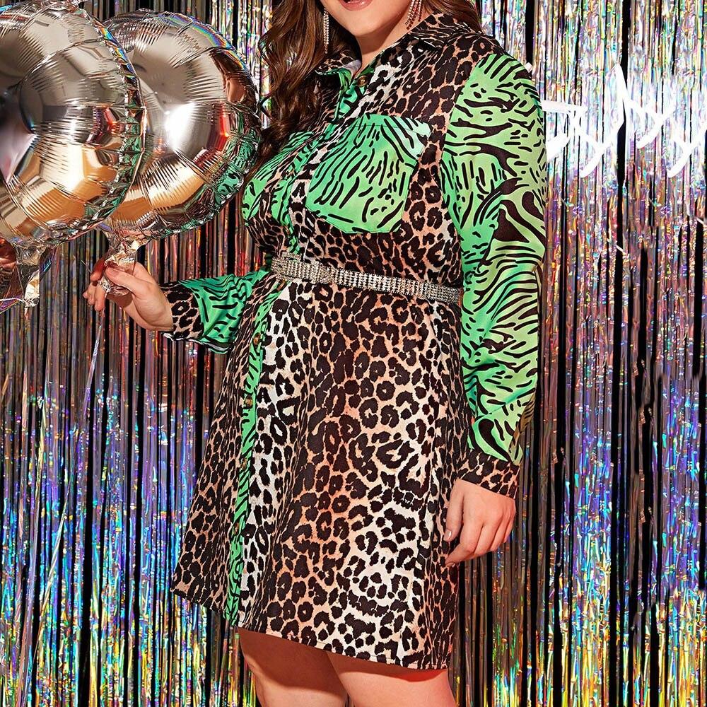 Leopard Printed Women Dress Autumn 2020 African Turn Down Collar Long Sleeve Plus Size Dress Vestiods Robe Shirt Dresses 1