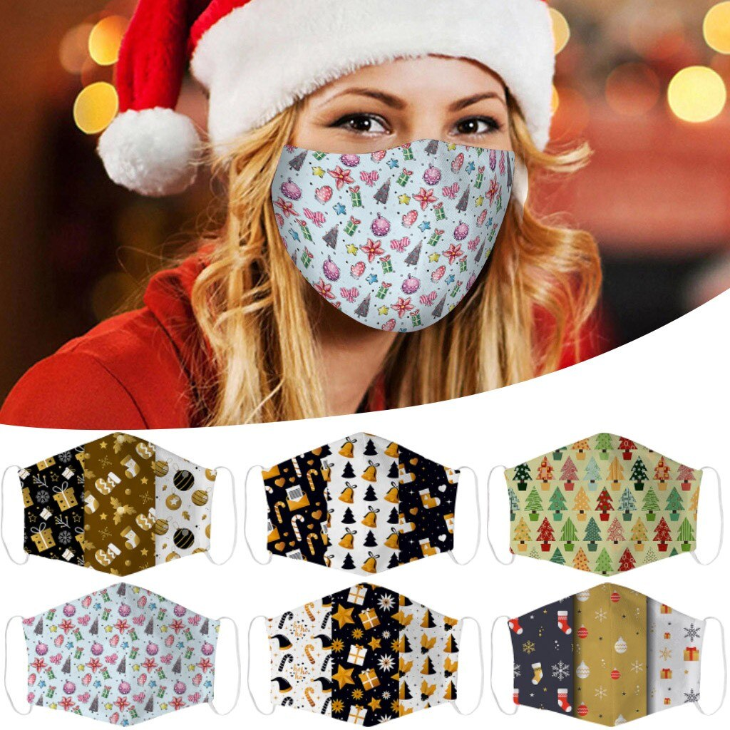 1PCS Adults Merry Christmas Face Mask Unisex Mouth Warm Windproof Cotton Santa Claus Elk Printing маска для лица балаклава маски