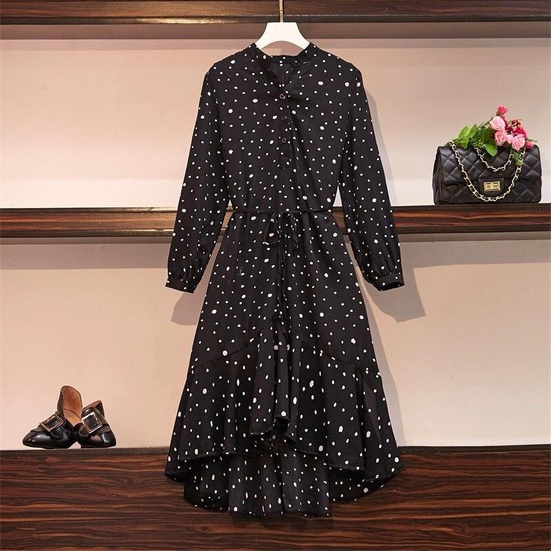 Plus Size Women Ruffle Meimaid Dress Autumn 2019 Fashion Polka Dot Print Long Sleeve Loose Casual Chiffon Shirt Dresses 3
