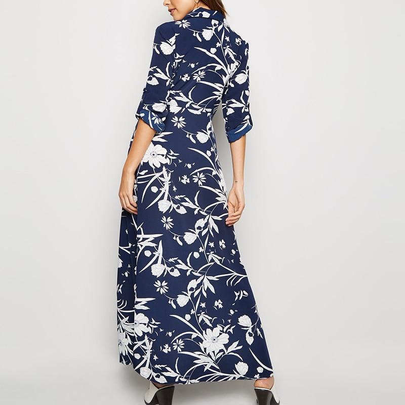 HiloRill 2020 Floral Print Long Women Dress Vintage Buttons Shirt Dress Elegant Turn Down Collar Ladies Office Split Dresses 2