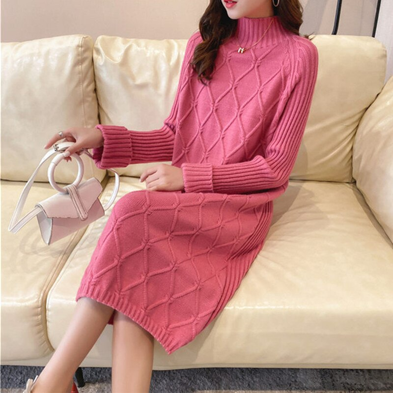 Half Turtleneck Sweater Dress Women 2020 Plaid Thick Autumn Winter Loose Sweater Dress Straight Shirt Casual Long Knit Dress Top 4