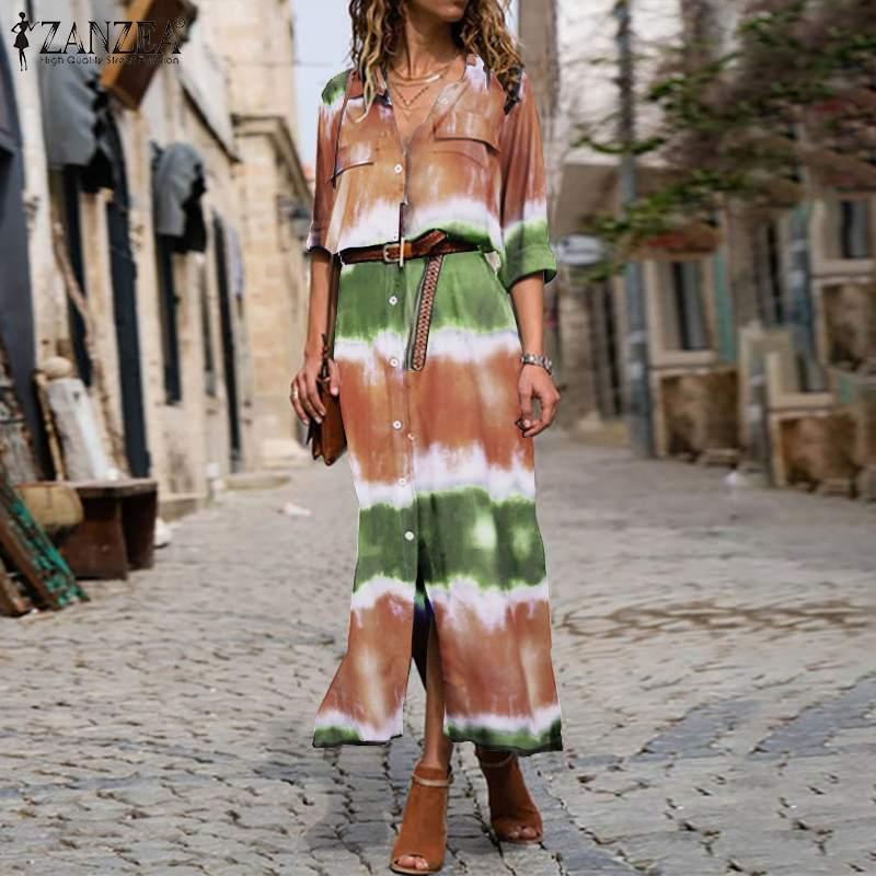 ZANZEA Women Long Sleeve Dress Casual Pockets Lapel Neck Shirt Dresses Baggy Button Split Robe Plus Size Bohemian Vestidos S-5XL