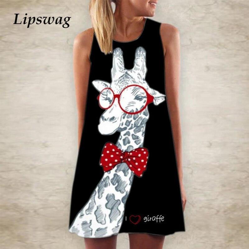 5XL Women Giraffe Print T Shirt Mini Dress Summer Sleeveless Party Dress 2020 Fashion Elegant O Neck A-Line Dress Vestidos Femme