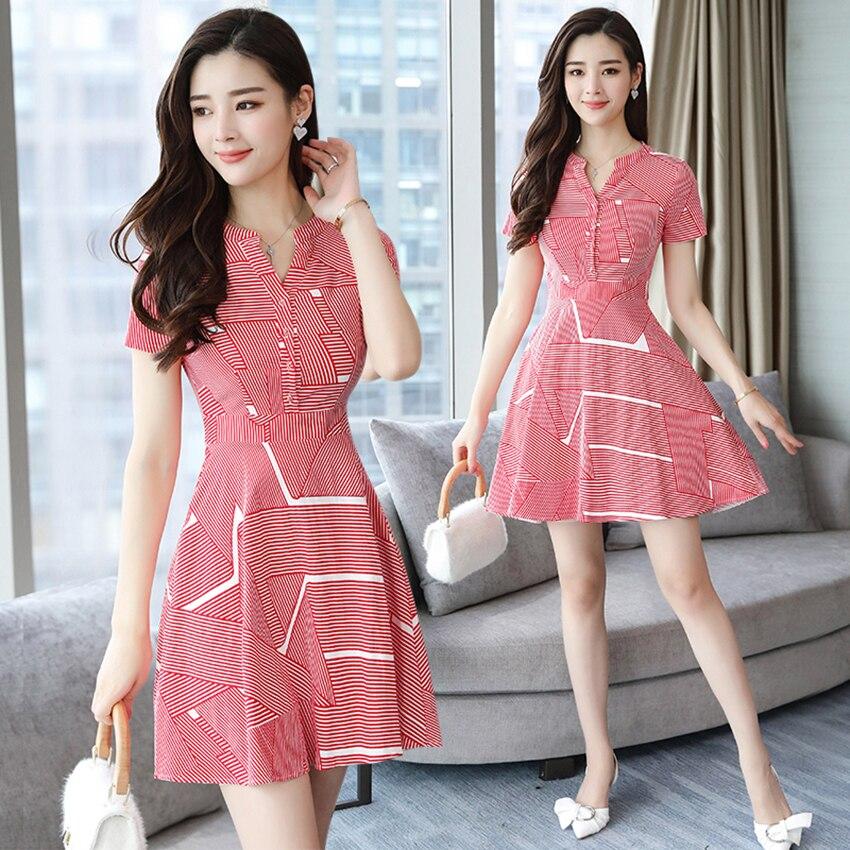 Huti Wjwyl Summer Red Striped Mini Sundress 2020 Bodycon Elegant Women Club Midi Dresses Party Short Shirt Dress Beach Vestidos