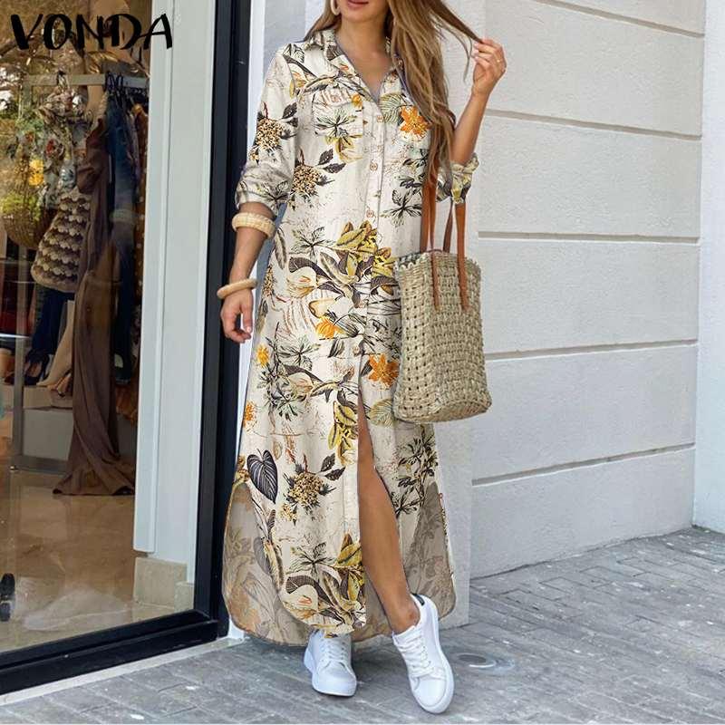 VONDA Maxi Long Dress 2020 Women Vintage Printed Long Sleeve Shirt Dresses Plus Size Bohemian Vestidos Elegant Beach Sundress 1