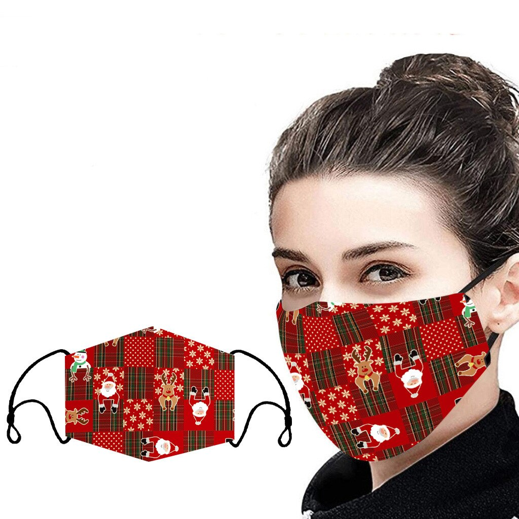 Unisex Christmas Face Mask Windbreak Mouth Cover Outdoor Riding Quick-drying deer print Fabric face Reusable mask mascarillas 3