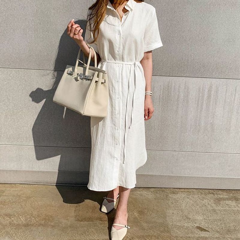 Simple Casual Loose Lapel Women Shirt Dress 2020 Spring Summer Single-Breasted Lace-Up Short Sleeve Female Dress Robe Femme 9948 2