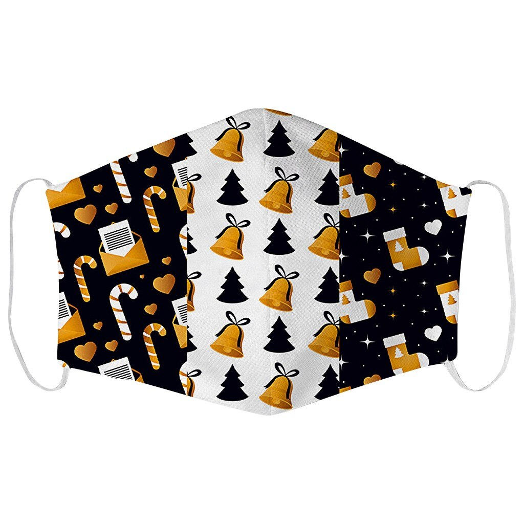 1PCS Adults Merry Christmas Face Mask Unisex Mouth Warm Windproof Cotton Santa Claus Elk Printing маска для лица балаклава маски 3