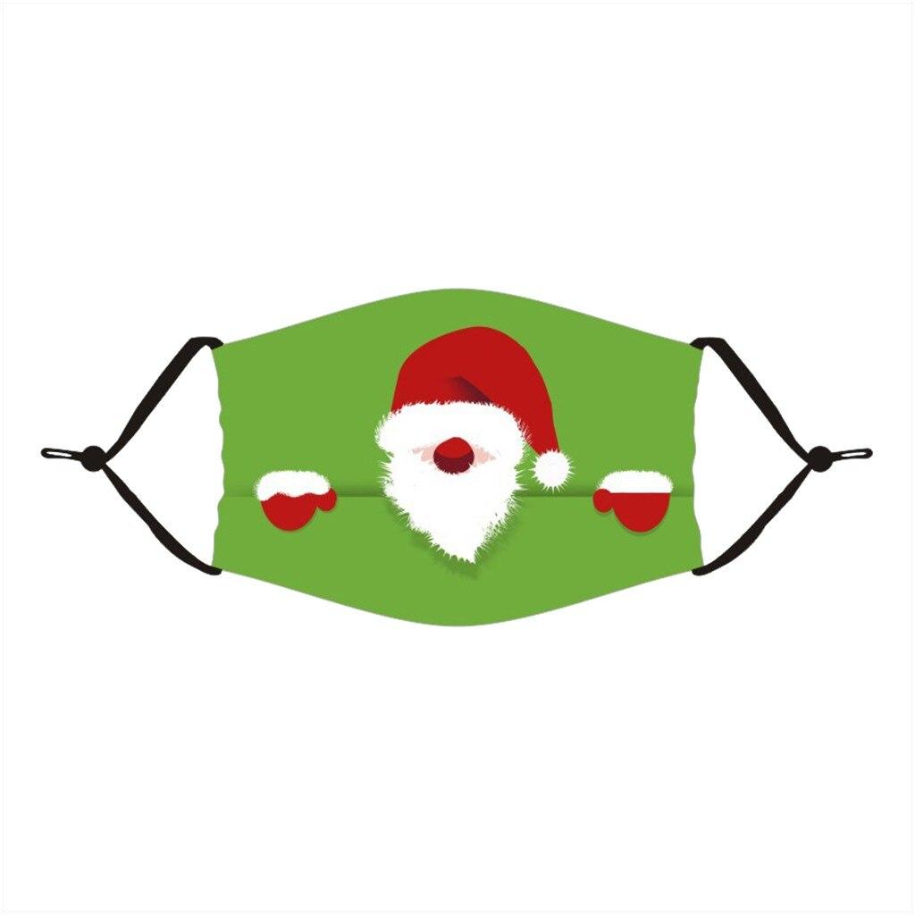 Unisex Merry Christmas Face Mask Cute Animal Snowman Santa Claus Printing Mask Adjustable Washable Face Mask Mascara Maszk 1