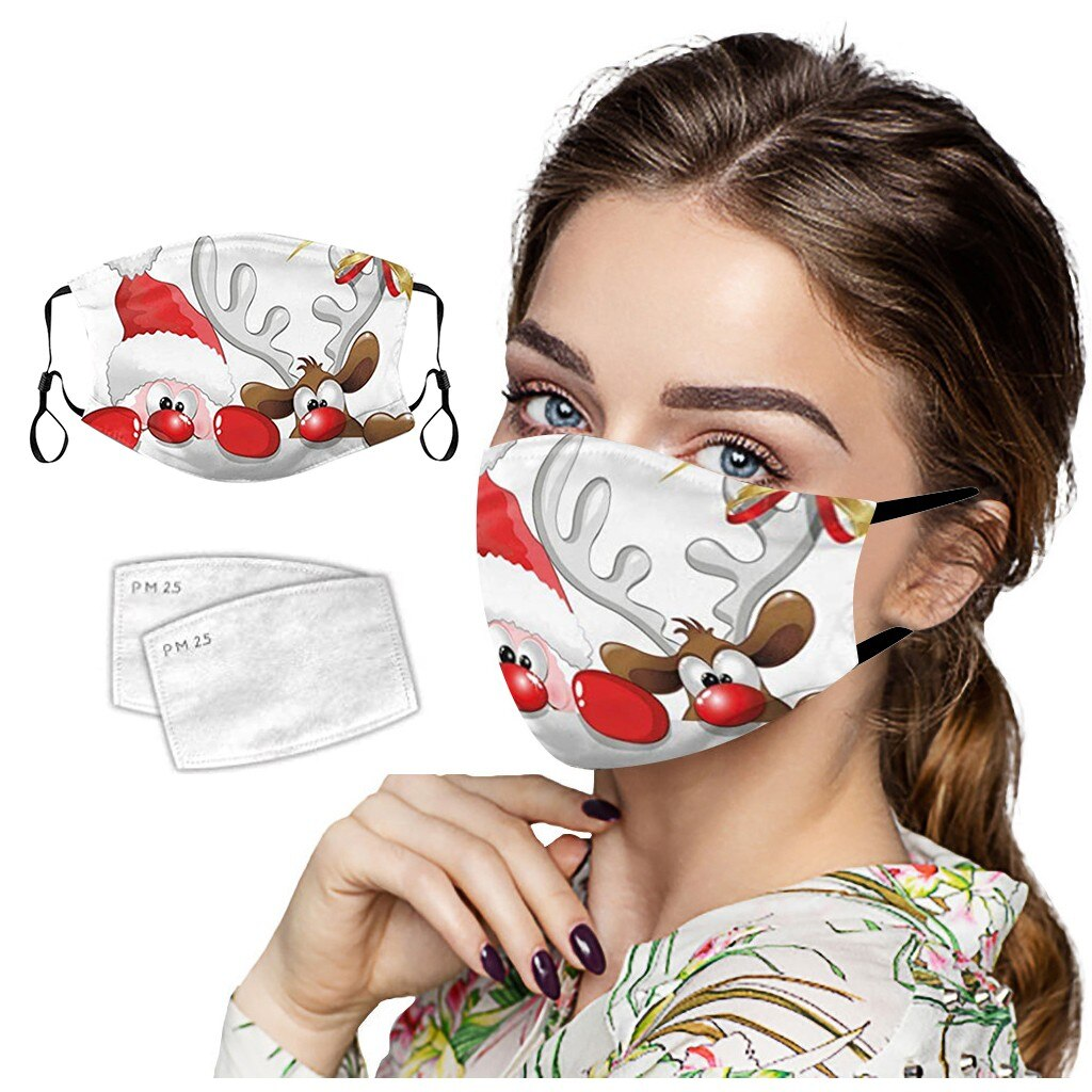 1Mask + 2Filters Christmas Face Mask Washable Proof Portcet Face Mouth Cover Outdoor Home With Adjustable Ear Rope Mask 2