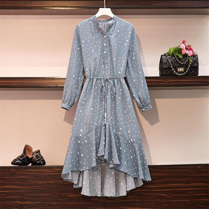 Plus Size Women Ruffle Meimaid Dress Autumn 2019 Fashion Polka Dot Print Long Sleeve Loose Casual Chiffon Shirt Dresses 2