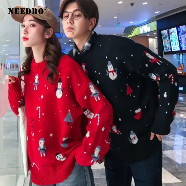 Christmas Knit Sweater Ladies Man Oversize Pullover