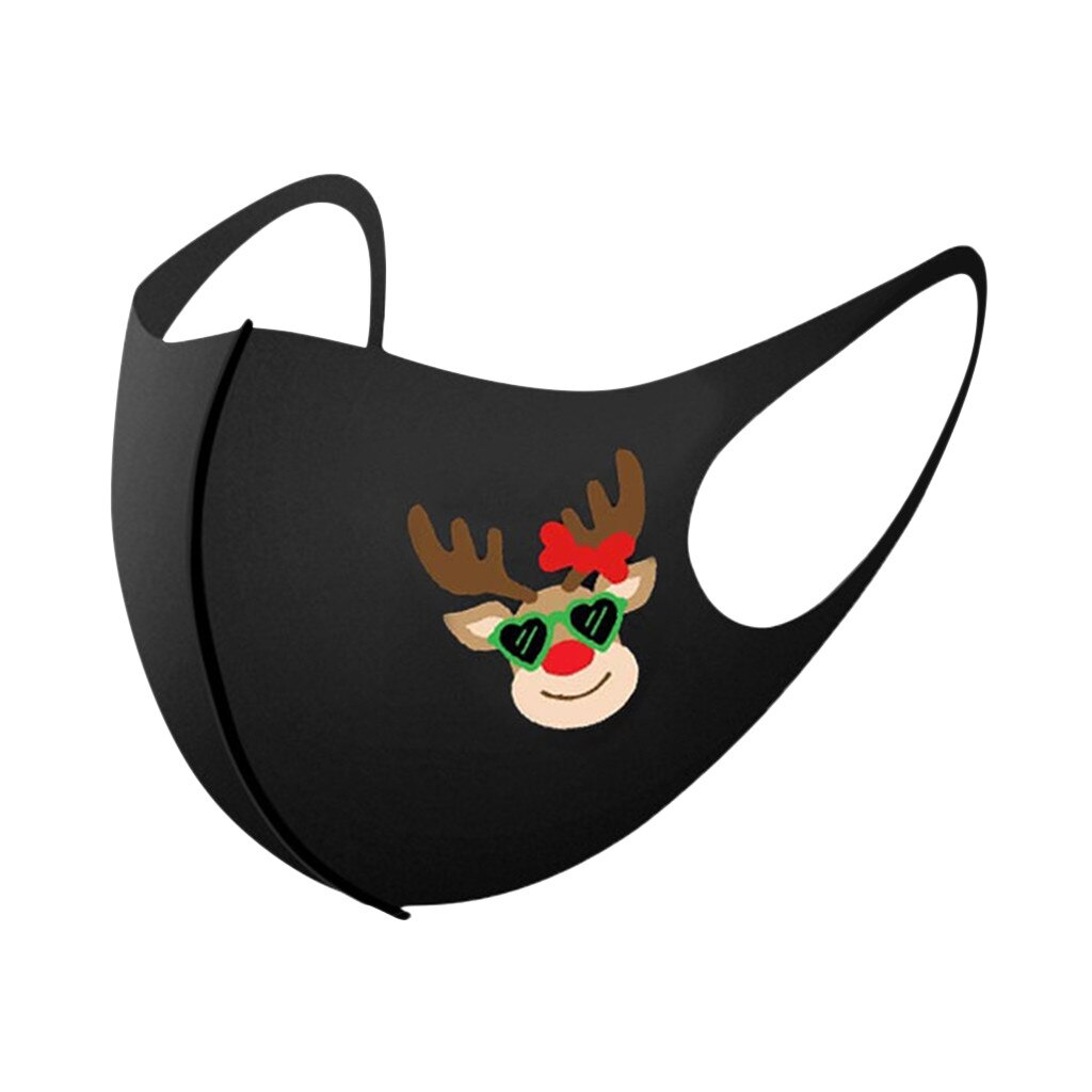 5/10/25PCS Adult Christmas Face Mask Washable Mouth Fabric Facial Mask For Protection Reusable Santa Earloop Mouth Caps Маска 2