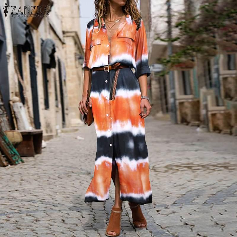 ZANZEA Women Long Sleeve Dress Casual Pockets Lapel Neck Shirt Dresses Baggy Button Split Robe Plus Size Bohemian Vestidos S-5XL 3