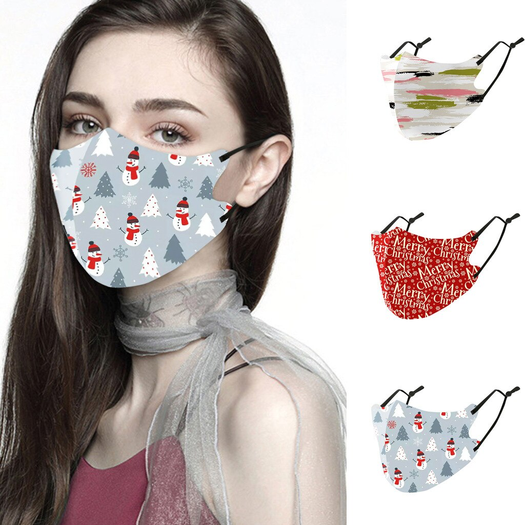 Men Women Christmas Face Mask Reusable Mouth Adlult Mask Outdoor Washable Mask For Face Warm Masks Girl Protective Red Mi Note 9