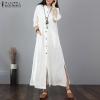 Maxi Gown Mandarin Collar Lengthy Shirt