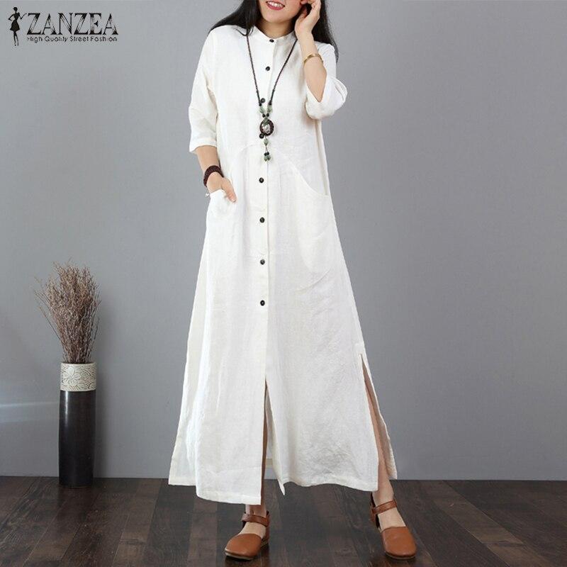 ZANZEA Women Long Maxi Dress Mandarin Collar Long Shirt Dresses Long Sleeve Cotton Linen Vestido Kaftan Button Up Robe Plus Size
