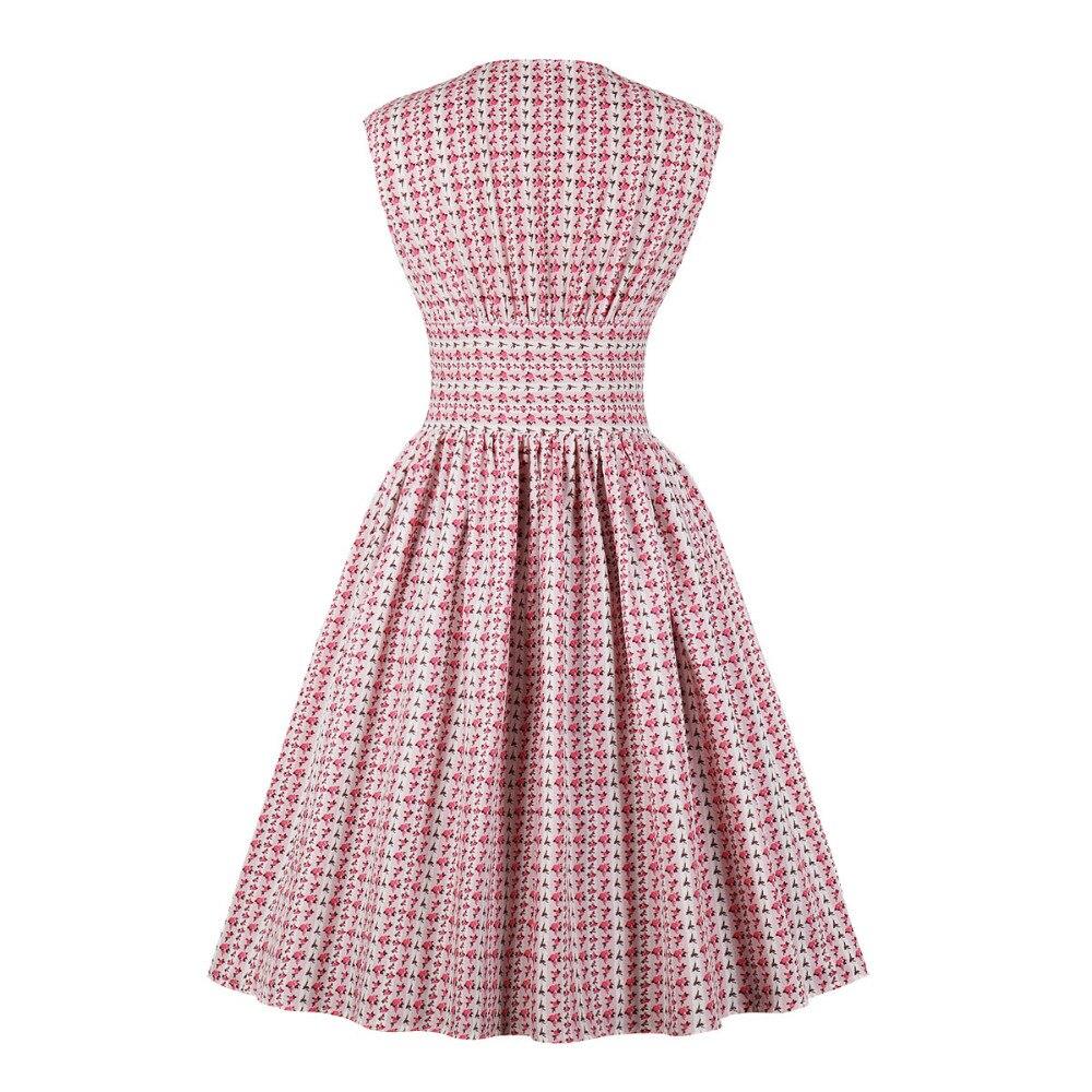 2019 Vintage Sleeveless Pleated Printing Shirt Dress Women Elegant V-Neck Knee-Length Casual Dress Party Tunic Midi Dresses 2