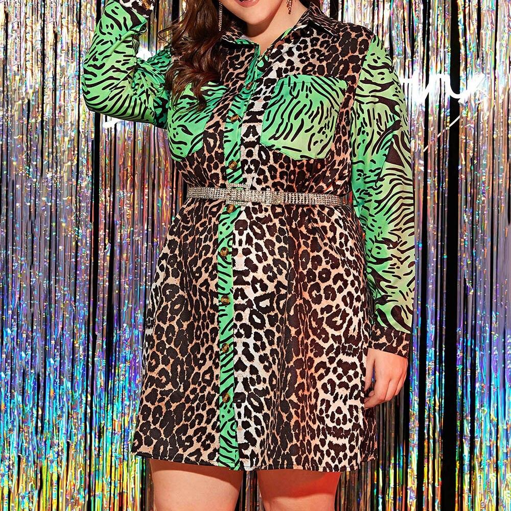Leopard Printed Women Dress Autumn 2020 African Turn Down Collar Long Sleeve Plus Size Dress Vestiods Robe Shirt Dresses