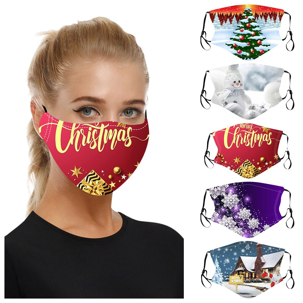 5PC Adult Xmas Mixed Mouth-Mask Reusable Washable Christmas Face Mask Masque Earloop Adjustable Outdoor Facemasks Mascarillas # 1
