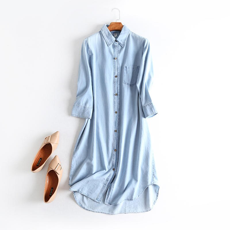 Oversized Jeans Shirt Dress Women Clothes Vestidos Casual Solid Denim Dress Female Elegant Vintage Shirt Dress Robe Femme Q2640