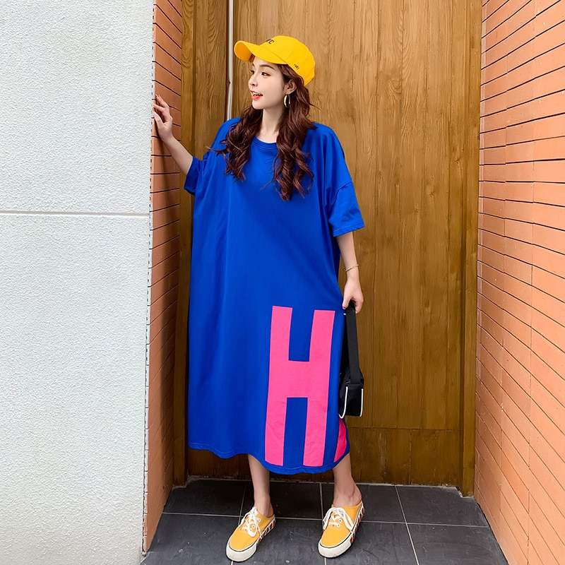 Home Oversized T Shirt Dress Women Summer 2020 Casual Plus Size Loose 'Hi ' Midi Dresses Short Sleeve H Cut Long Tee Shirt 3