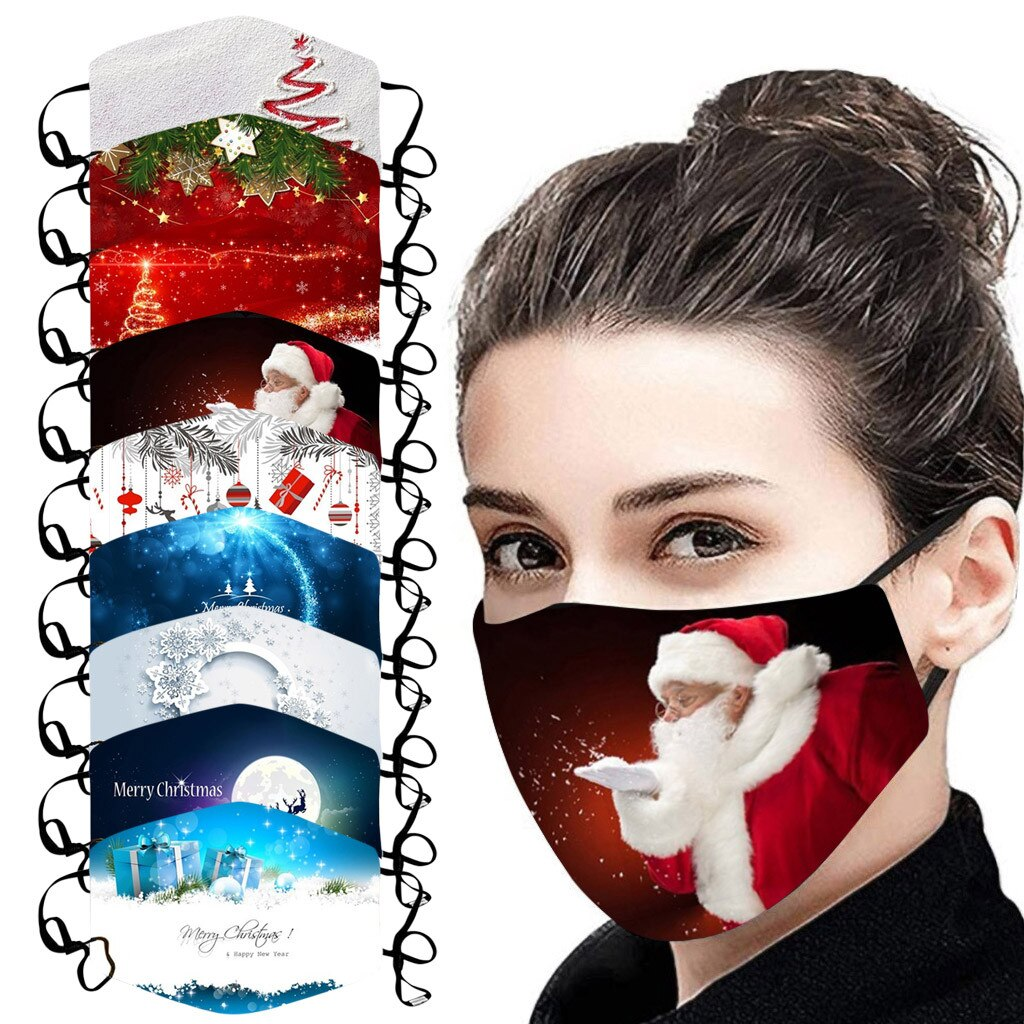 Christmas Face Mask Activated Carbon Outdoor Fabric Facial Mask Christmas Print Mouth Cap Washable Christmas Wear mascarillas