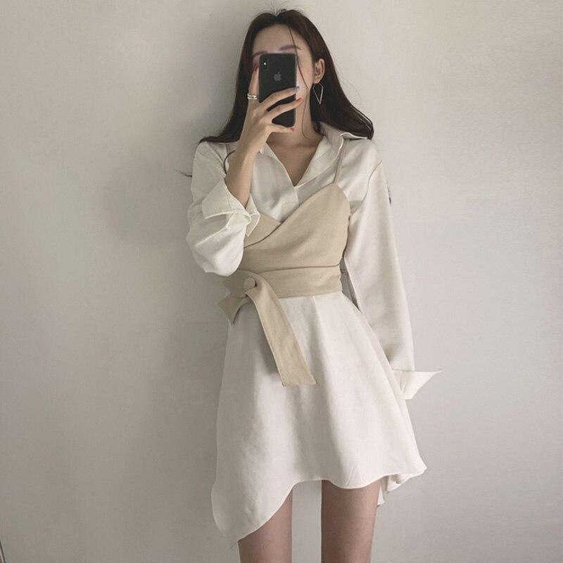 Summer Women's Shirt Dress Empire Sashes Patchwork A-line button Turn-down Collar Mini Shirt Dress Sexy Female Dress Women PL051 4