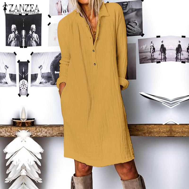 ZANZEA Fashion Autumn Long Shirt Dress Women Lapel Neck Long Sleeve Buttons Vestido Casual Loose Cotton Linen Sundress Plus Size 3