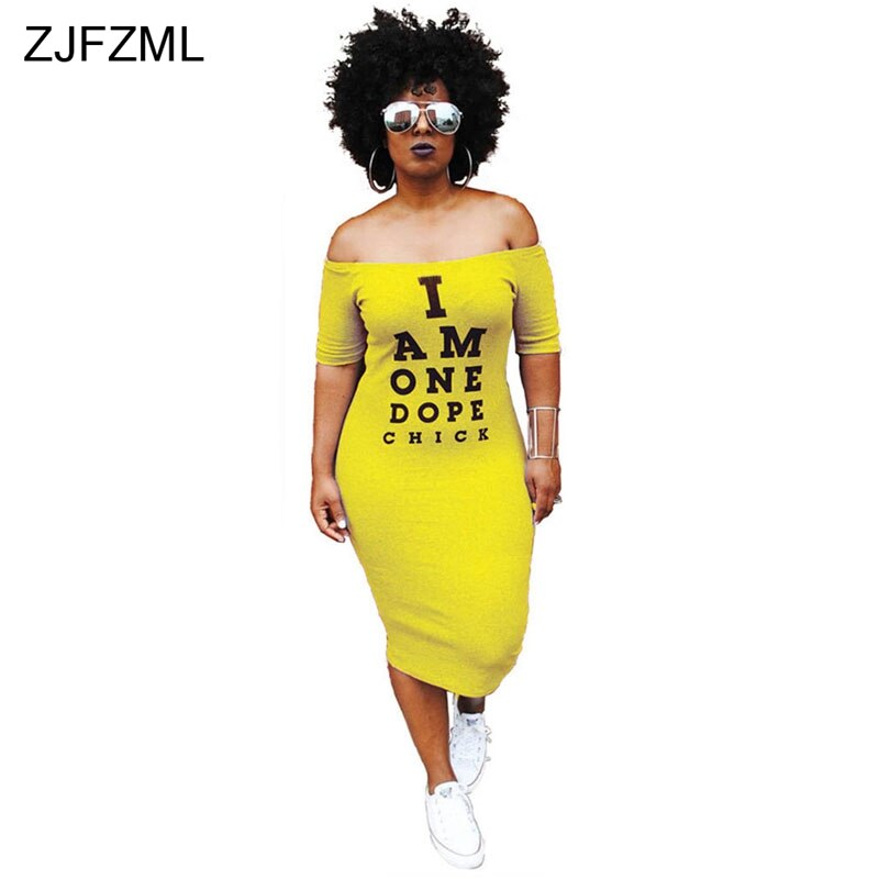 ZJFZML Off Shoulder Sexy T Shirt Dress Women Letter Print Slash Neck Bandage Dress Summer Short Sleeve Backless Mid-Calf Dress