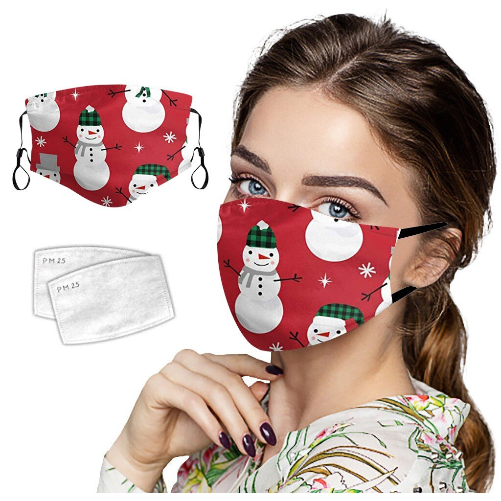 1Mask + 2Filters Christmas Face Mask Washable Proof Portcet Face Mouth Cover Outdoor Home With Adjustable Ear Rope Mask 3
