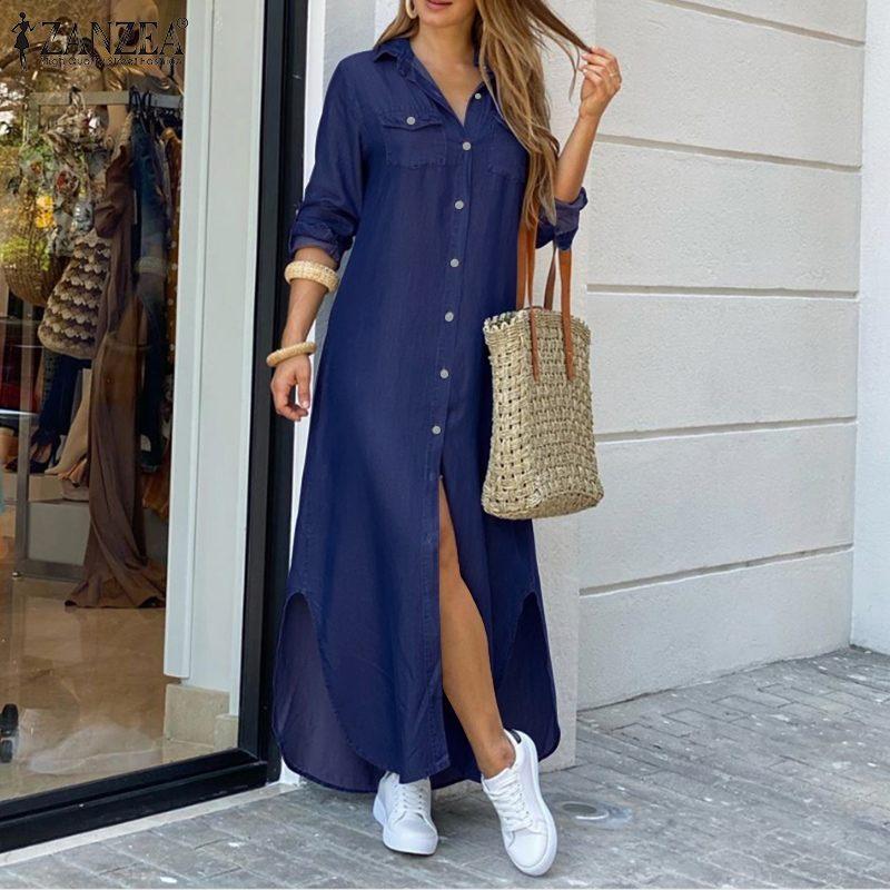 ZANZEA Women Long Maxi Dress Casual Solid Buttons Down Long Shirts Vestidos Cotton Linen Sundress Lapel Neck Party Beach Dresses 1