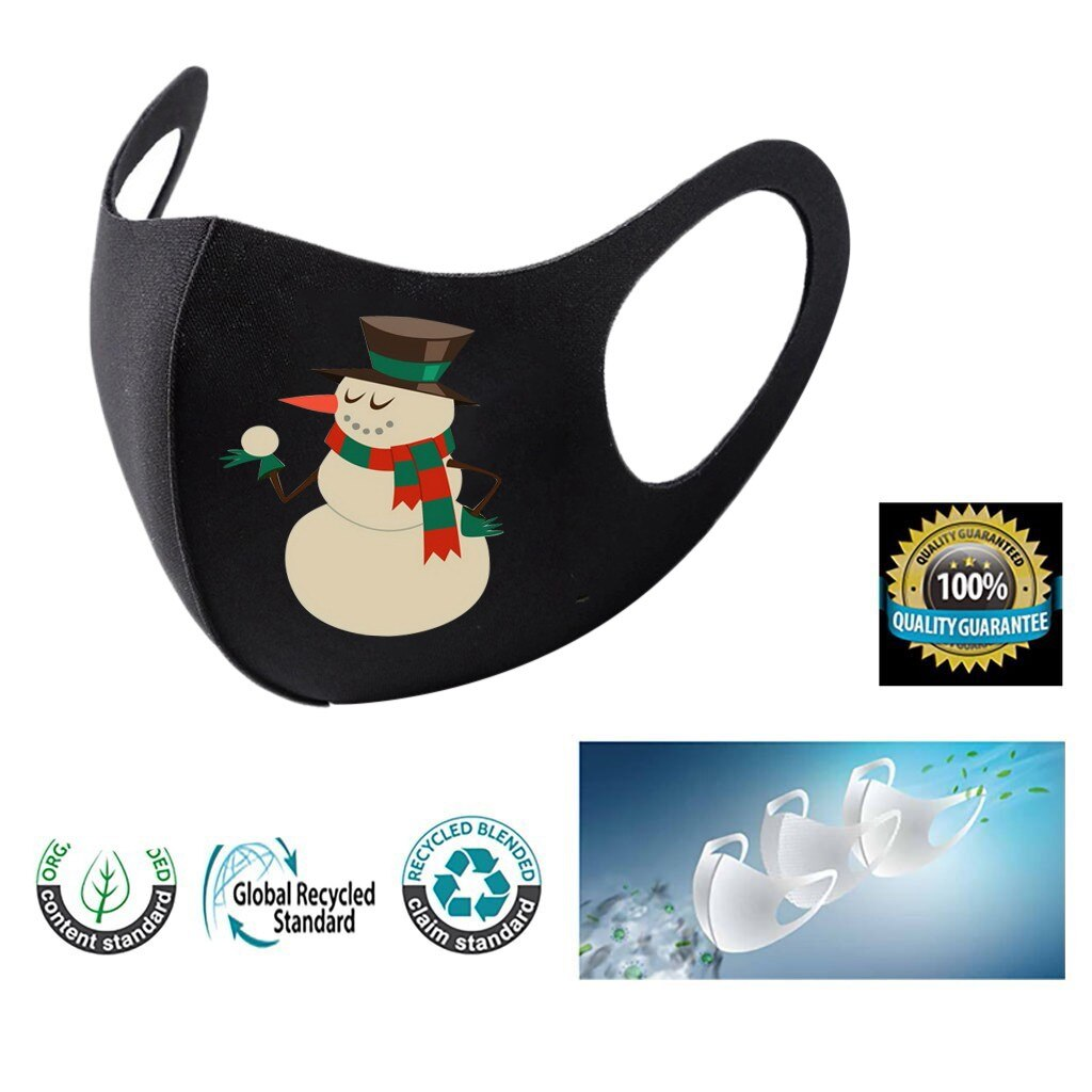 3pc Adult Christmas Face Mask Washable Mouth Fabric Facial Mask For Protection Reusable Santa Earloop Mouth Caps Masque Adulte 1